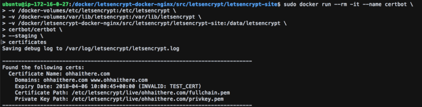 Get Additional Information with the Certbot Certificates Command - How to Set Up Free SSL Certificates from Let's Encrypt using Docker and Nginx