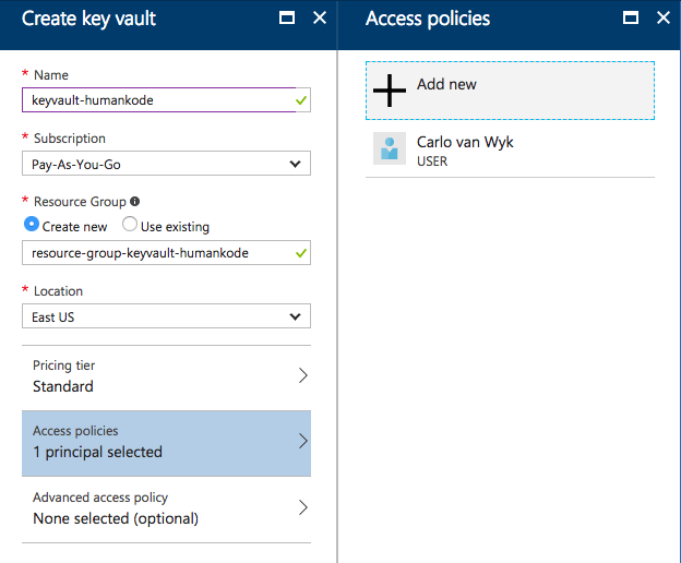 Create a new Key Vault: Step 2 - How to Store Secrets in Azure Key Vault Using .NET Core