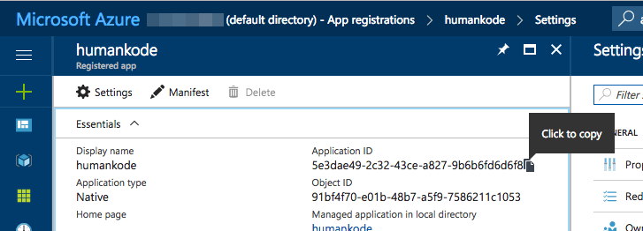 Get Azure Application Id - How to Store Secrets in Azure Key Vault Using .NET Core